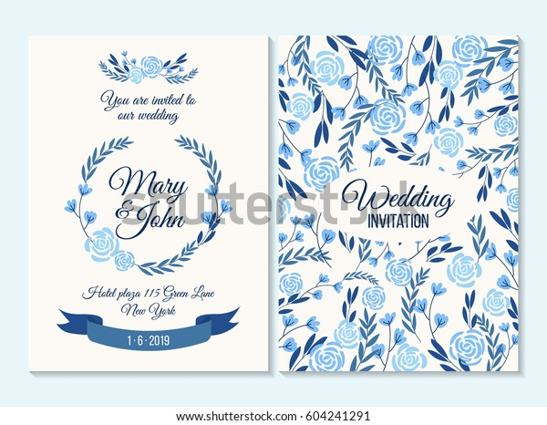 Blue Wedding invitation, thank you card, save the date card with flowers, rose, leaf, branch on white background. Elegant hipster rustic wedding invitation. Boho style.