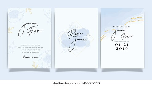 blue Wedding set invitation, RSVP, thank you cards. Vector elegant rustic template. Swirls of marble or the ripples of agate. Liquid marble texture and Golden metallic. Fluid art.