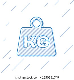 Blue Weight line icon isolated on white background. Kilogram weight block for weight lifting and scale. Mass symbol. Vector Illustration