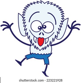 Blue werewolf with big head, bulging eyes, blue pants and sharp fangs while dancing, raising its arms, crossing its eyes, smiling, sticking its tongue out and making funny faces in a very amusing mood