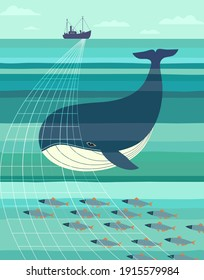 Blue Whale and fishes smim to Trawl Net. Nautical vector poster minimalist style. Ocean habitat protection concept. Save undersea ecology background illustration. Whales oceanic animal banner template