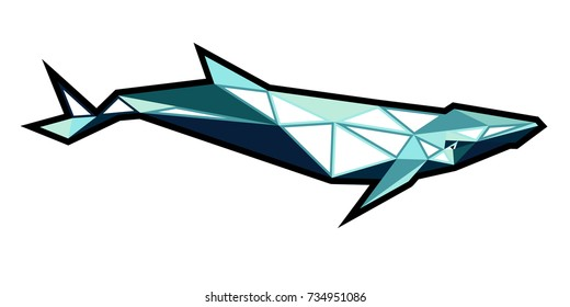 blue whale low poly. Geometric and Polygonal whale.