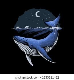 Blue Whale Ocean Vector Illustration