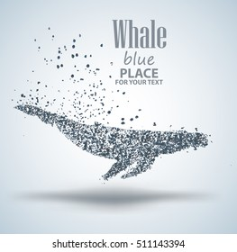 Blue whale ,particle divergent composition, vector illustration ,isolated on white background
