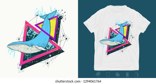 Blue whale. Print for t-shirts and another, trendy apparel design. Sea travel, outdoors symbol