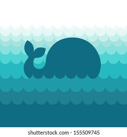 Blue whale in the sea waves  - abstract vector illustration in minimalist style