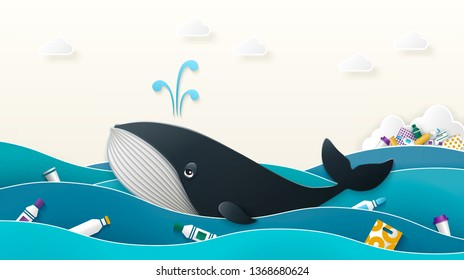 A blue whale swims in the ocean past the island of debris in the waves floating plastic bottles and packaging. The concept of environmental pollution. Vector illustration of paper cut style