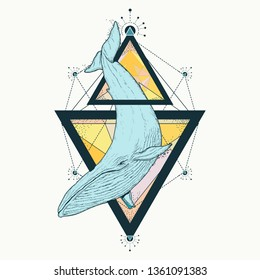 Blue whale in triangle color tattoo and t-shirt design.. Travel, adventure, outdoors symbol