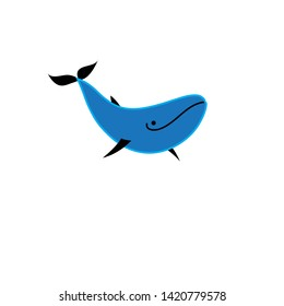 Blue whale vector icon isolated on white background