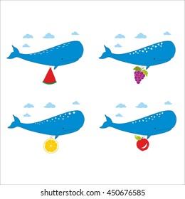 Blue whales with different fruits