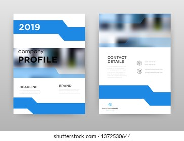 Blue white 2019 Company profile business annual report brochure flyer design. Multipurpose abstract brochure template, include cover and back pages. Geometric flyer leaflet vector design. Vertical A4