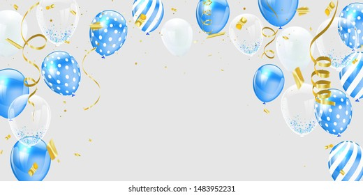 Blue white balloons, Gold confetti concept design template holiday Happy Day, background Celebration Vector illustration.