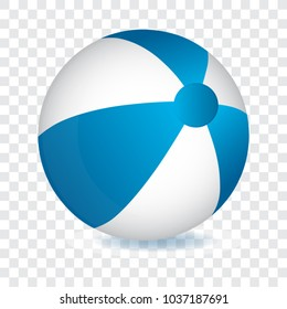 Blue and white beach ball, vector illustration.