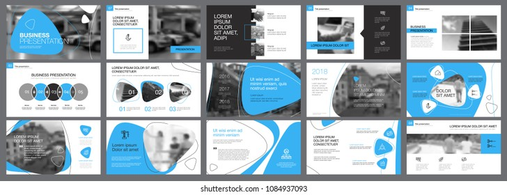 Blue, white and black infographic elements for presentation slide templates. Business and research concept can be used for annual report, advertising, flyer layout and banner design.