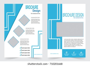 Blue and White Brochure template flyer design, abstract template for annual report, magazine, poster