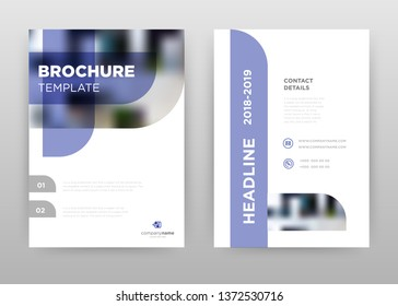 Blue white business annual report brochure flyer design. Multipurpose abstract brochure template, include cover and back pages. Circular corner flyer leaflet vector design. Vertical A4 size
