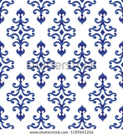 Blue White Ceramic Pattern Japan Chinese Stockvector Rechtenvrij