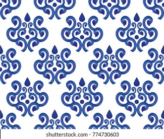 blue and white ceramic pattern seamless, beautiful porcelain background texture, damask design style, vector illustration