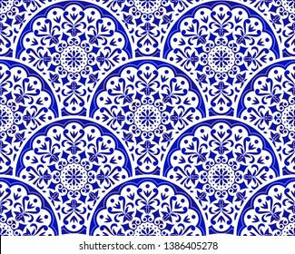 blue and white Chinese pattern with scale patchwork style, abstract floral decorative indigo mandala for your design element, ceramic porcelain damask wallpaper seamless decor vector illustration
