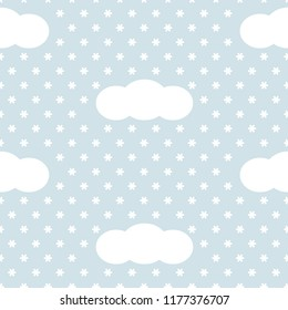 Blue and white clouds and snowflakes simple winter sky, seamless pattern, vector