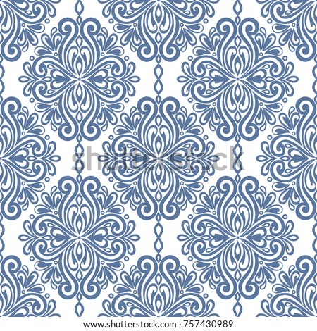 Blue White Damask Vector Seamless Pattern Stock Vector Royalty Free