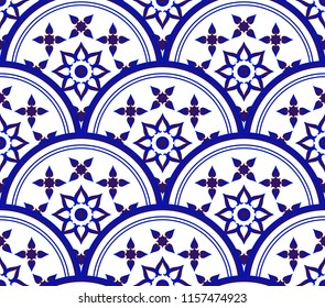 blue and white decorative tile pattern, porcelain mandala background design, Islam, Arabic, Indian, ottoman motifs, Endless pattern can be used for ceramic, wallpaper,invitation card