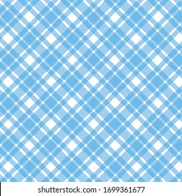 Blue white diagonal check texture seamless pattern background. Vector illustration.
