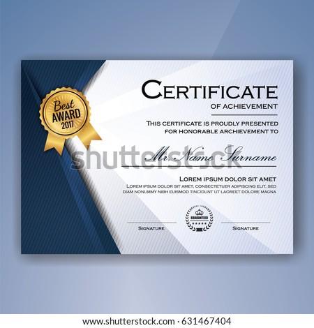 blue white elegant certificate achievement template のベクター画像