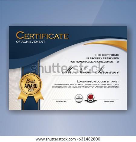 blue white elegant certificate achievement template stock vector