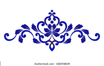 blue and white floral decorative design element for, porcelain and ceramic, Beautiful flower pattern, vector illustration