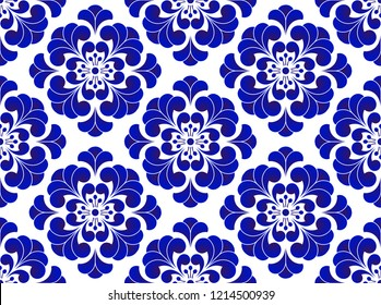 Blue and white flower pattern Chinese and Japanese style, porcelain floral seamless background, beautiful ceramic tile design, vector illustration