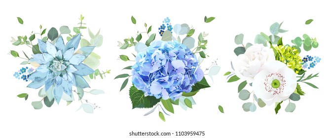 Blue and white flowers vector design bouquets.Hydrangea, rose, papaver, ranunculus, eucalyptus, succulent, forget me nots, greenery.Floral border composition. All elements are isolated and editable