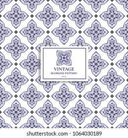 Blue and white geometric pattern. Minimal pattern. Vintage. Stylised cross and hearts. Great for fabric and textile, flyer, banner, business cards, wallpaper, packaging or any desired idea.