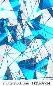 Blue and White Geometric Pattern with Triangles. A Three-Dimensional Futuristic Structure. Wicker Abstract Texture. Vector. 3D Illustration