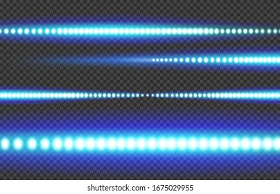 Blue white glowing LED light strip on a transparent background.