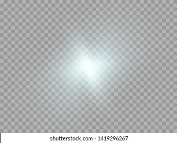 Blue or white glowing light burst explosion transparent. Vector illustration for cool effect decoration with ray sparkles. Bright star. Transparent shine gradient glitter, bright flare. Glare texture.
