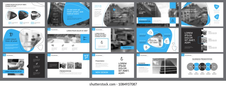 Blue, white and grey infographic design elements for presentation slide templates. Business and training concept can be used for annual report, advertising, flyer layout and banner design.