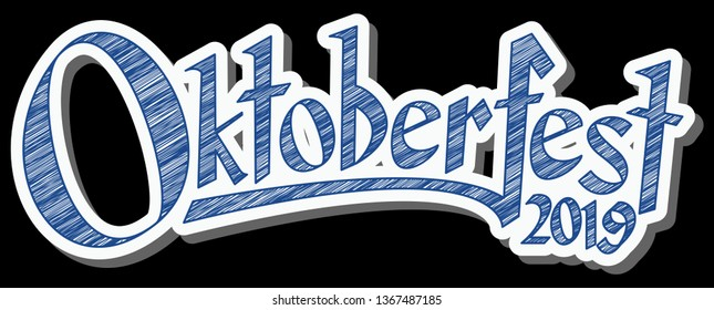 blue and white header with scribble pattern and text Oktoberfest 2019