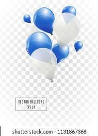 Blue and white helium vector balloons isolated on transparent background. Flying latex ballons.