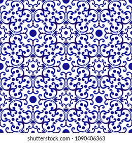 blue and white Japan and Chinese seamless pattern for design, porcelain, chinaware, ceramic tile, ceiling, texture, wall, paper silk and fabric, vector illustration, beautiful China background