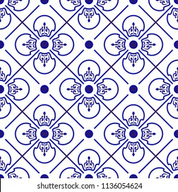 blue and white Japan and Chinese seamless pattern for design, porcelain, chinaware, ceramic, tile, ceiling, texture, wall, paper silk and fabric, vector illustration, beautiful China background