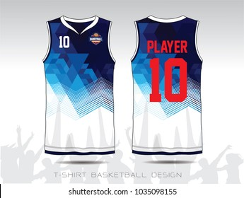 Blue and white layout Basketball uniform or sport jersey template for basketball club. Front and back view sport t-shirt design. Vector Illustration