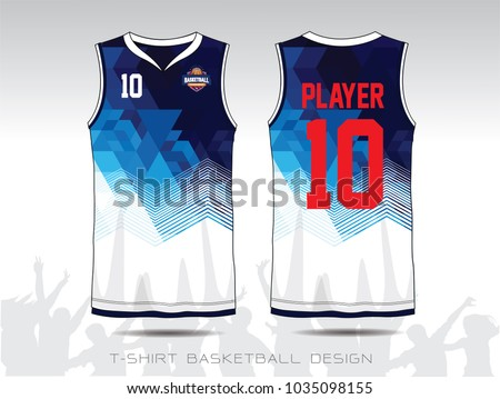 Blue White Layout Basketball Uniform Sport Stock Vector Royalty