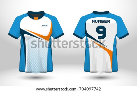 7e8539db Blue and white layout football sport t-shirt design. Template front, back  view
