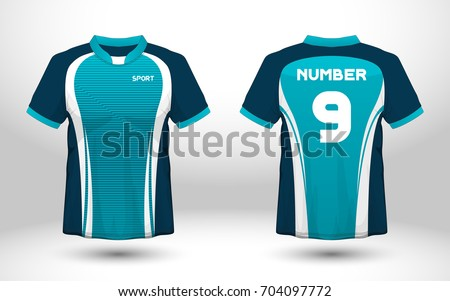 Blue White Layout Football Sport Tshirt Stock Vector Royalty Free
