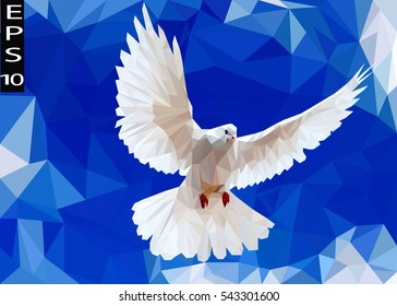 Blue White Light Polygonal Mosaic Background, Vector illustration, Business Design Templates, Low Poly white dove flying in the sky.