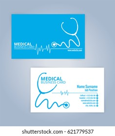 blue and white modern business healthcare medical card template illustration vector 10 - Doctor Business Card