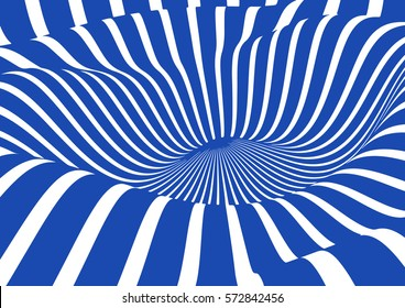 Blue and white narrow stripes, illusion of movement. Modern artistic pattern and background.
