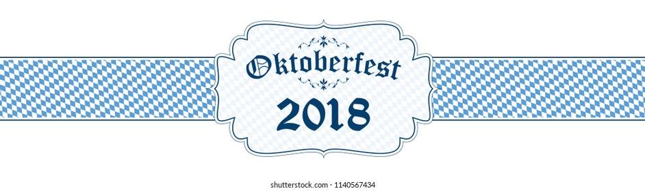 blue and white Oktoberfest banner with text Oktoberfest 2018