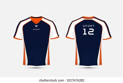 Blue, White and orange pattern sport football kits, jersey, t-shirt design template
